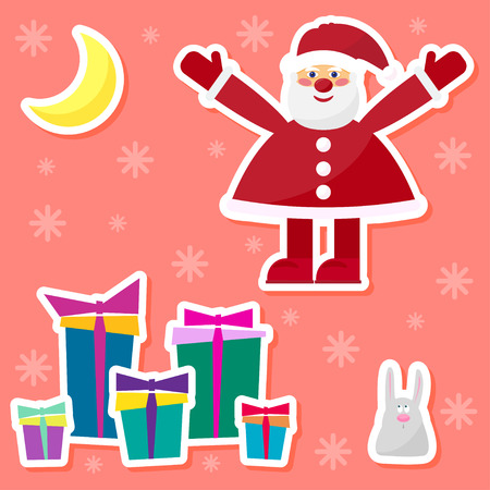 funny cartoon winter holidays set with cute Santa Claus,rabbit, moon and gifts on the red background Illustration