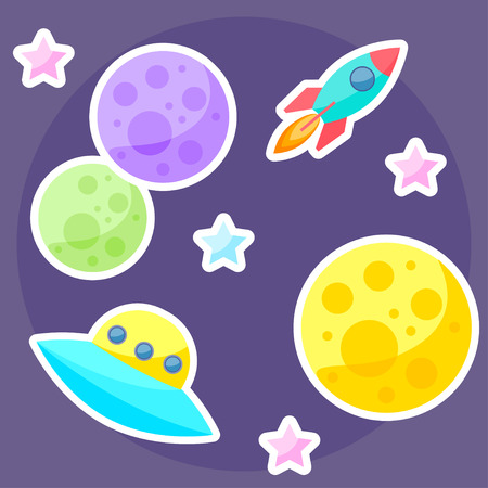 confines: vector space cover with colorful planets, pink and blue stars, ufo and spaceship on purple open space background