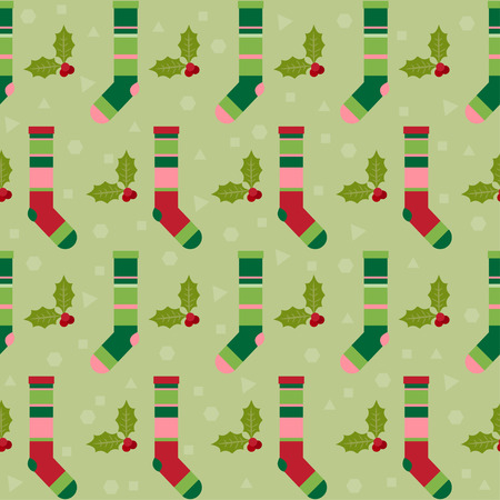 winter holidays pattern background with colorful baby socks for gifts from Santa Claus and  branch of Holly on soft green colored cover