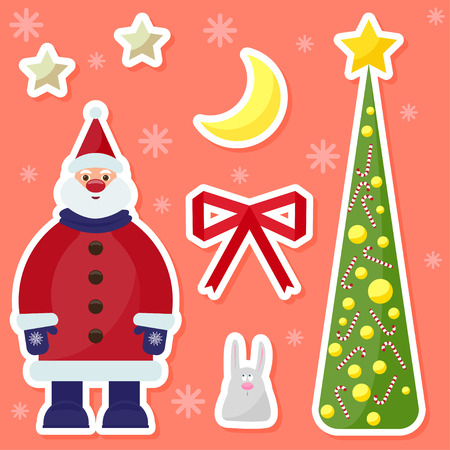 winter holidays background with cute funny cartoon Santa Claus,rabbit, fir, moon and stars on the bright colored cover Illustration