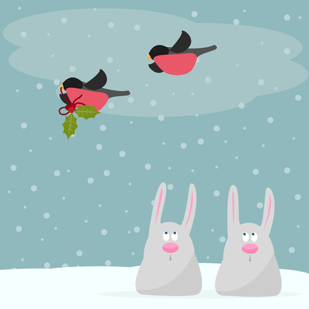 funny winter holidays card background with cute cartoon rabbits and with bullfinches  bearing a branch of Holly Illustration