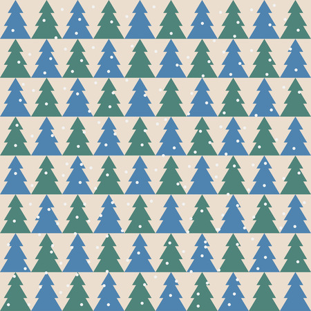 winter holidays bright colored pattern background with green and blue fir Illustration