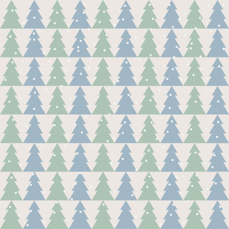 winter holidays soft colored pattern background with green and blue fir Illustration