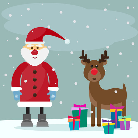 funny cartoon winter holidays greeting card with Santa Claus and funny deer on the grey background with snowflakes Illustration