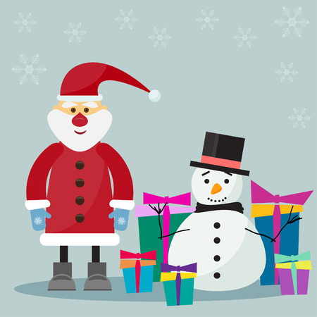 funny cartoon winter holidays background with Santa, gifts and cute snowman on the soft grey background with snowflakes