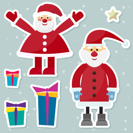 gaiety: funny cartoon winter holidays background with set of two Santa Clauses on the soft gray background