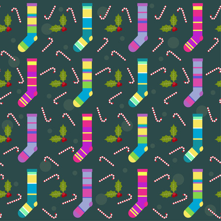 gaiety: winter holidays pattern background with colorful baby socks for gifts from Santa Claus, lollipops and  branch of Holly Illustration