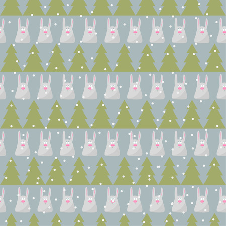 gaiety: winter holidays pattern background with green fir and funny cartoon rabbit on the grey cover Illustration