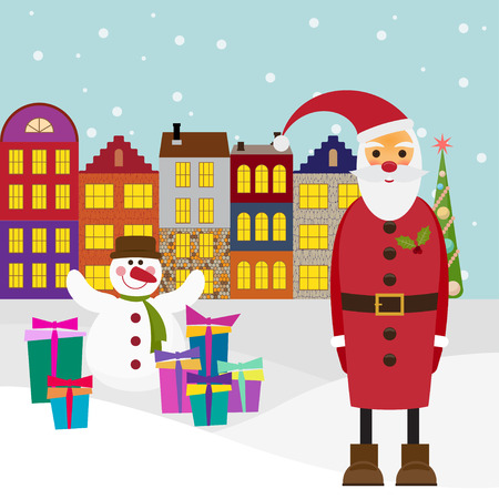 gaiety: winter holiday picture for greeting cards with cartoon Santa coming to town with gifts and funny snowman