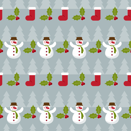 winter holidays pattern background with fir, branch of Holly and funny cartoon happy snowman on grey colored background Illustration