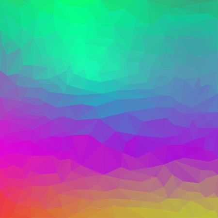 Bright gradient colored abstract triangular polygonal basis background for use in design. Lighting green, blue, purple and yellow colors.