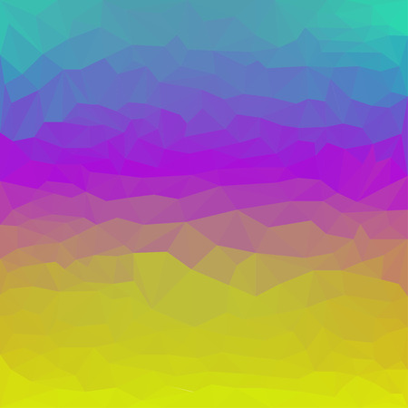 Bright gradient yellow, purple and blue colored abstract polygonal basis background for use in design