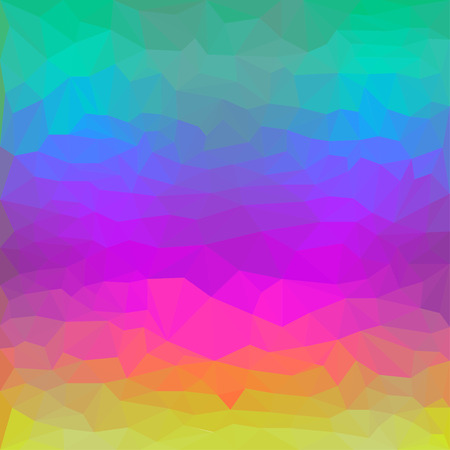 Abstract colorful triangular polygonal spectral background for use in design with bright yellow, purple, pink, blue and green colors Illustration