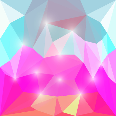 Abstract yellow, purple, blue and white bright colored polygonal triangular background with lights for use in design