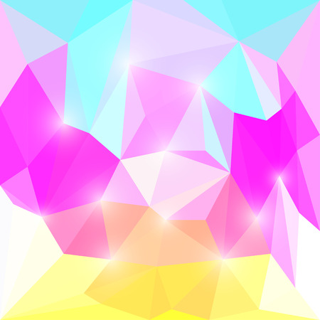 Abstract yellow, purple, blue and white colored polygonal triangular background with lights for use in design