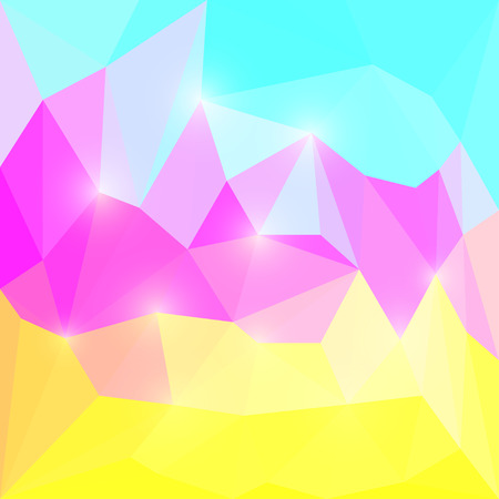 separable: Abstract purple, yellow and blue colored polygonal triangular background with soft lights for use in design