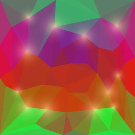 Abstract deep red, purple and green colored polygonal triangular background with glaring lights for use in design Illustration