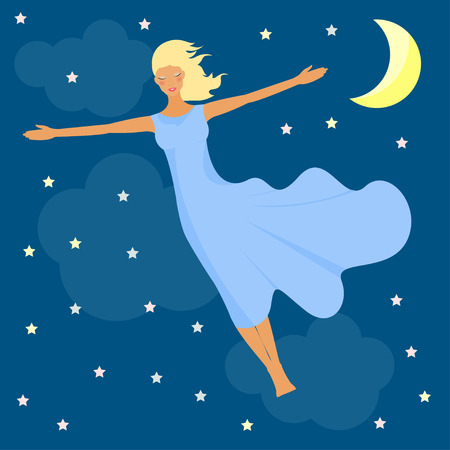 Beautiful young girl flies in the night sky with stars and the moon in a dream