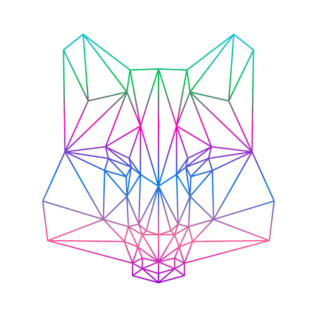 animal head: polygonal abstract gradient colored wolf silhouette drawn in one continuous line isolated on a white backgrounds