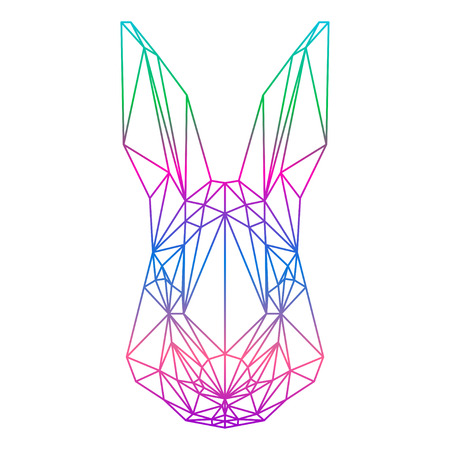 coward: polygonal abstract rabbit silhouette drawn in one continuous line isolated on a white backgrounds