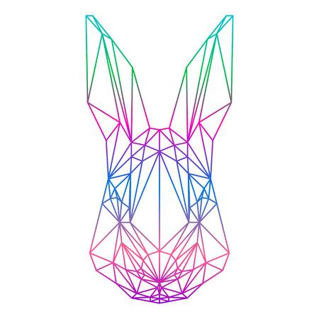 polygonale silhouette abstraite lapin dessiné dans une ligne continue isolé sur un fond blanc