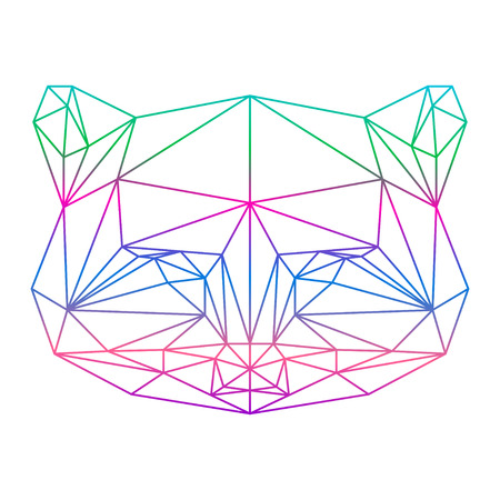 polygonal abstract gradient colored raccoon silhouette drawn in one continuous line isolated on a white backgrounds