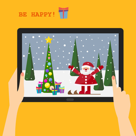 gaiety: bright colorful picture for use in the design for the holiday greeting card with a smiling Santa on skis on the tablet display Illustration