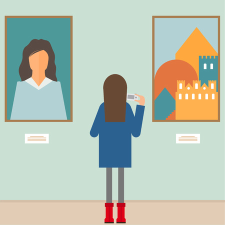 vector illustration in a flat style with a girl photographing the painting in the museum