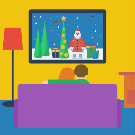 tv screen: illustration in a flat style with couple watching television sitting on the couch in the room
