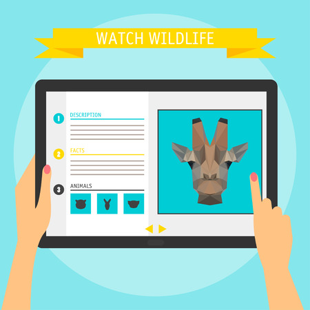 Vector illustration concept of hands holding modern digital tablet and pointing on a screen with website about wildlife. Flat design style, isolated on bright color background with slogan Vector