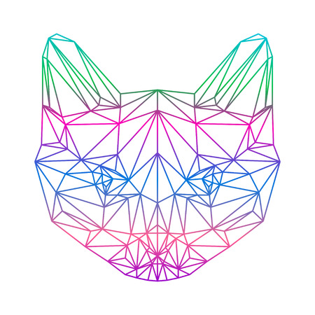 polygonal abstract gradient colored  siamese cat silhouette drawn in one continuous line isolated on a white background