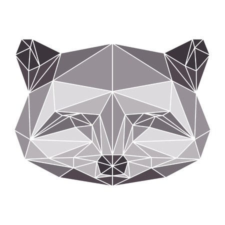 polygonal abstract raccoon isolated on a white background Vector
