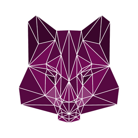 polygonal abstract bright coloterd wolf isolated on a white background Vector