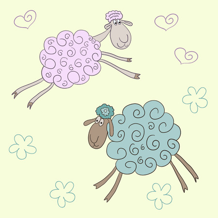 gaiety: Funny vector background with soft pink and green colored hand-drawn cute cartoon sheep on the soft yellow cover Illustration
