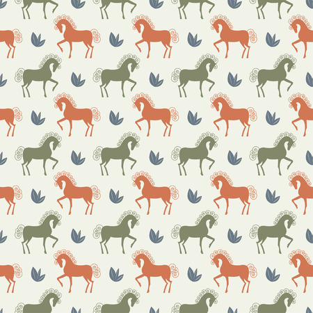 vector green and orange horse seamless pattern background Vector