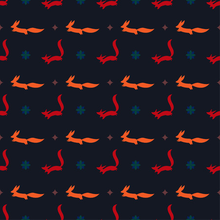 vector bright cartoon ginger and red fox vector seamless pattern on the dark cover Иллюстрация