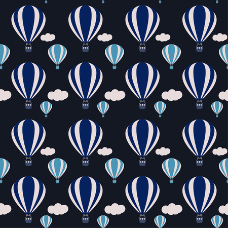 vector hot air balloons seamless pattern background on dark cover