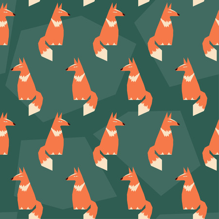 abstract seamless pattern geometric background with funny cartoon ginger fox Иллюстрация