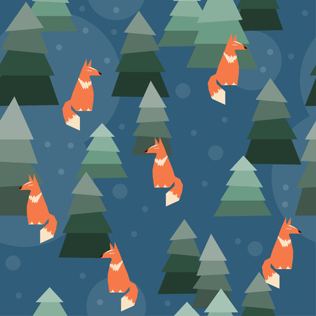 adroitness: abstract seamless pattern geometric background with funny cartoon ginger fox Illustration
