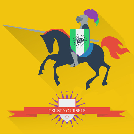 prowess: bright illustration with riding on horseback brave knight made in the trendy flat style Illustration