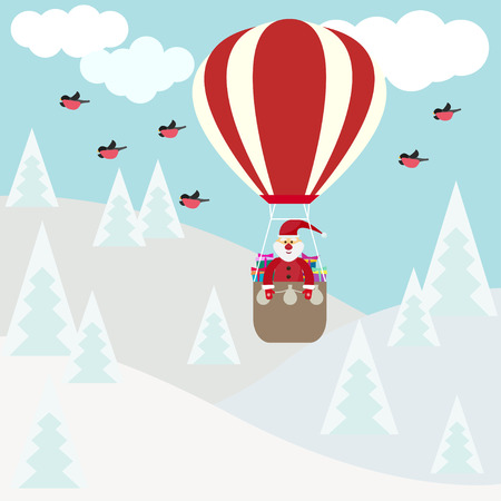 funny cartoon winter holidays greeting card with Santa Claus flying in a hot air balloon over the winter forest and bullfinch