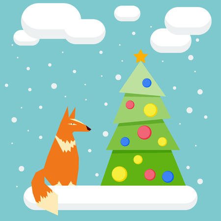 winter holidays: winter holidays card background with funny cartoon fox and spruce