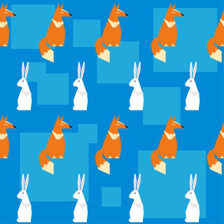 bright colored abstract geometric vector seamless pattern backround with funny fox and rabbit Illustration