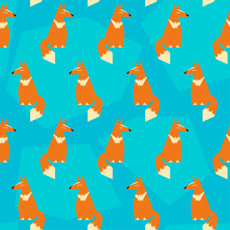 bright colored abstract geometric vector seamless pattern backround with funny fox