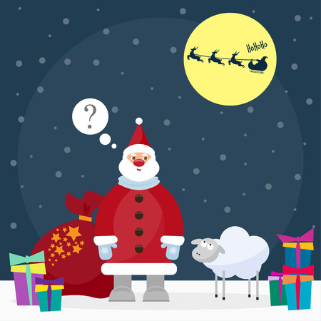 gaiety: funny  winter holidays background with Santa and cute sheep, the symbol of the new year of the blue sheep Illustration