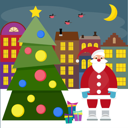 gaiety: winter holiday picture for cards with spruce and funny cartoon Santa coming to town with gifts Illustration