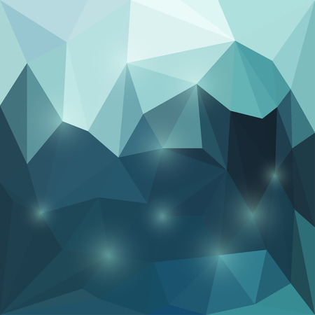 deep sea: Abstract bright deep sea colored polygonal triangular background with glaring lights  for use in design