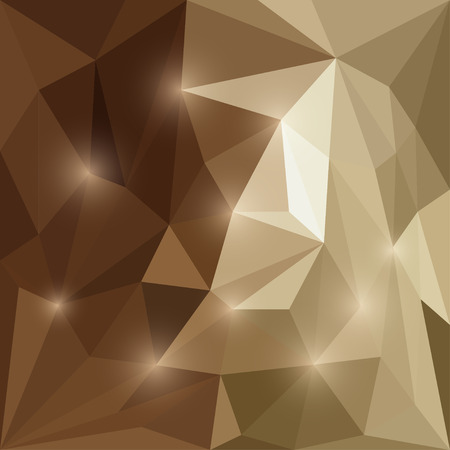 Abstract bright beige and brown colored polygonal triangular background with glaring lights