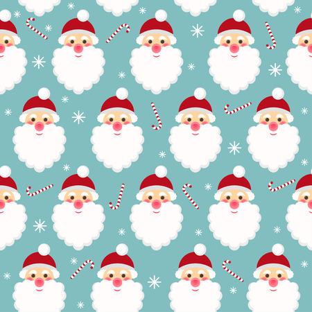 winter holidays seamless pattern background with funny cartoon Santa