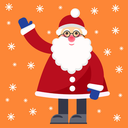 gaiety: funny cartoon bright colored winter holidays greeting card with Santa Claus